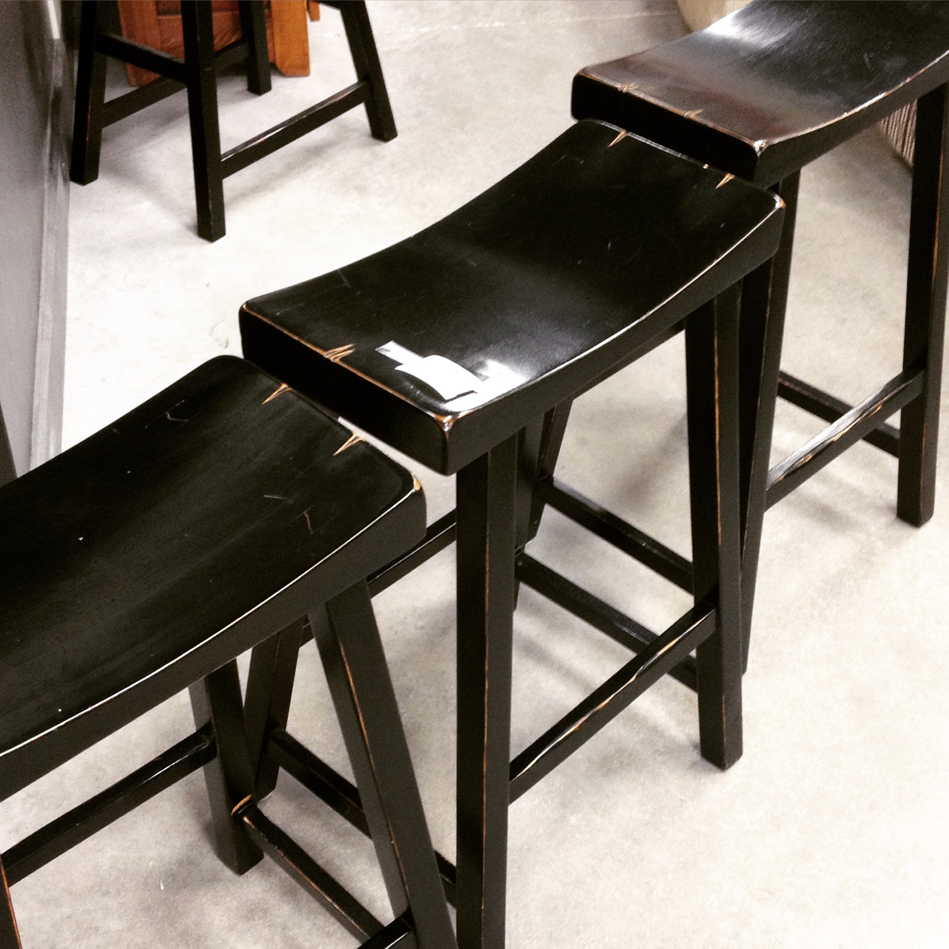 Set Of 3 Counter Height Saddle Bar Stools Sold