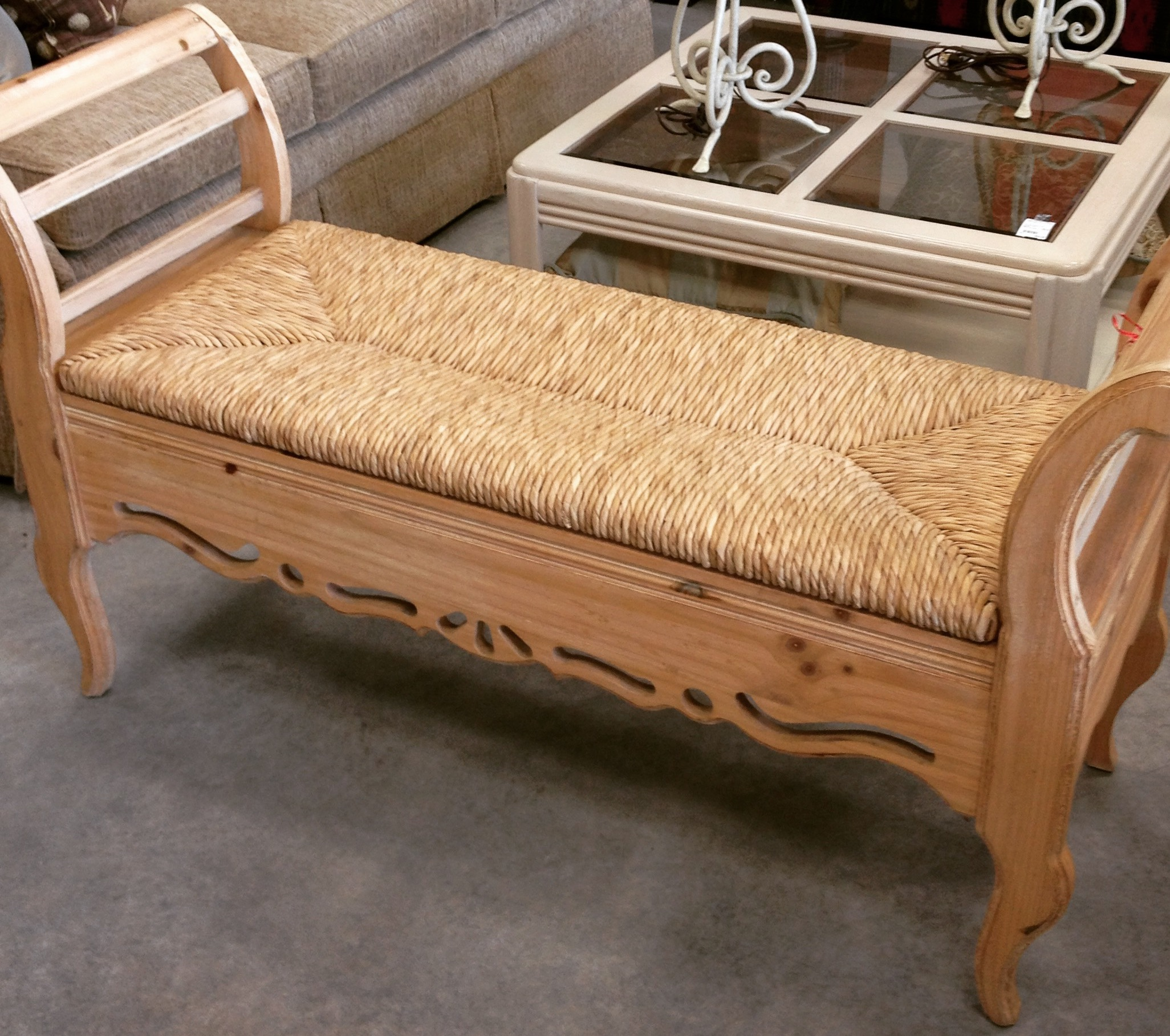 52 Rush Seat Bench Sold Designsbyconsign