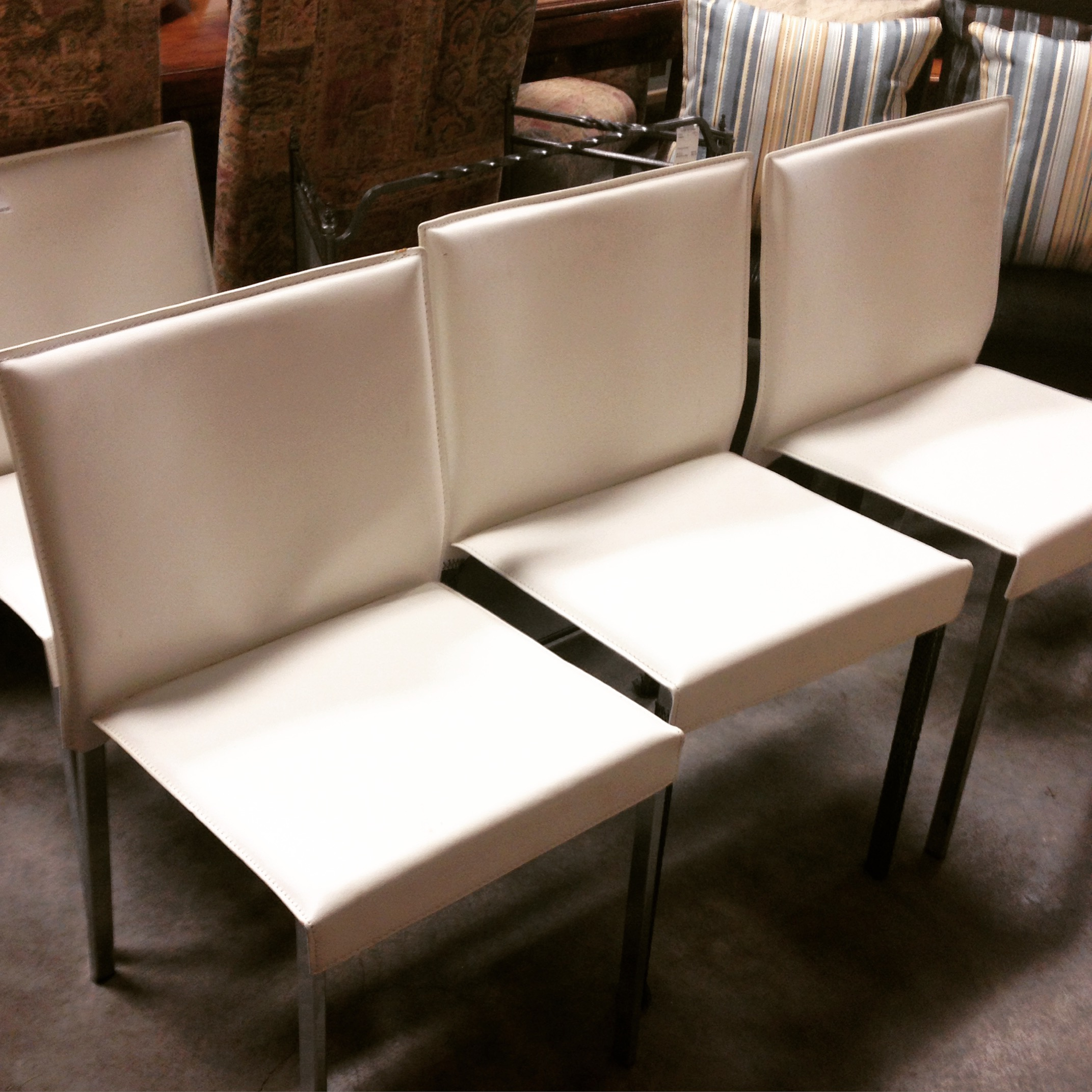New set of 4 white leather and chrome dining chairs for White leather and chrome dining chairs