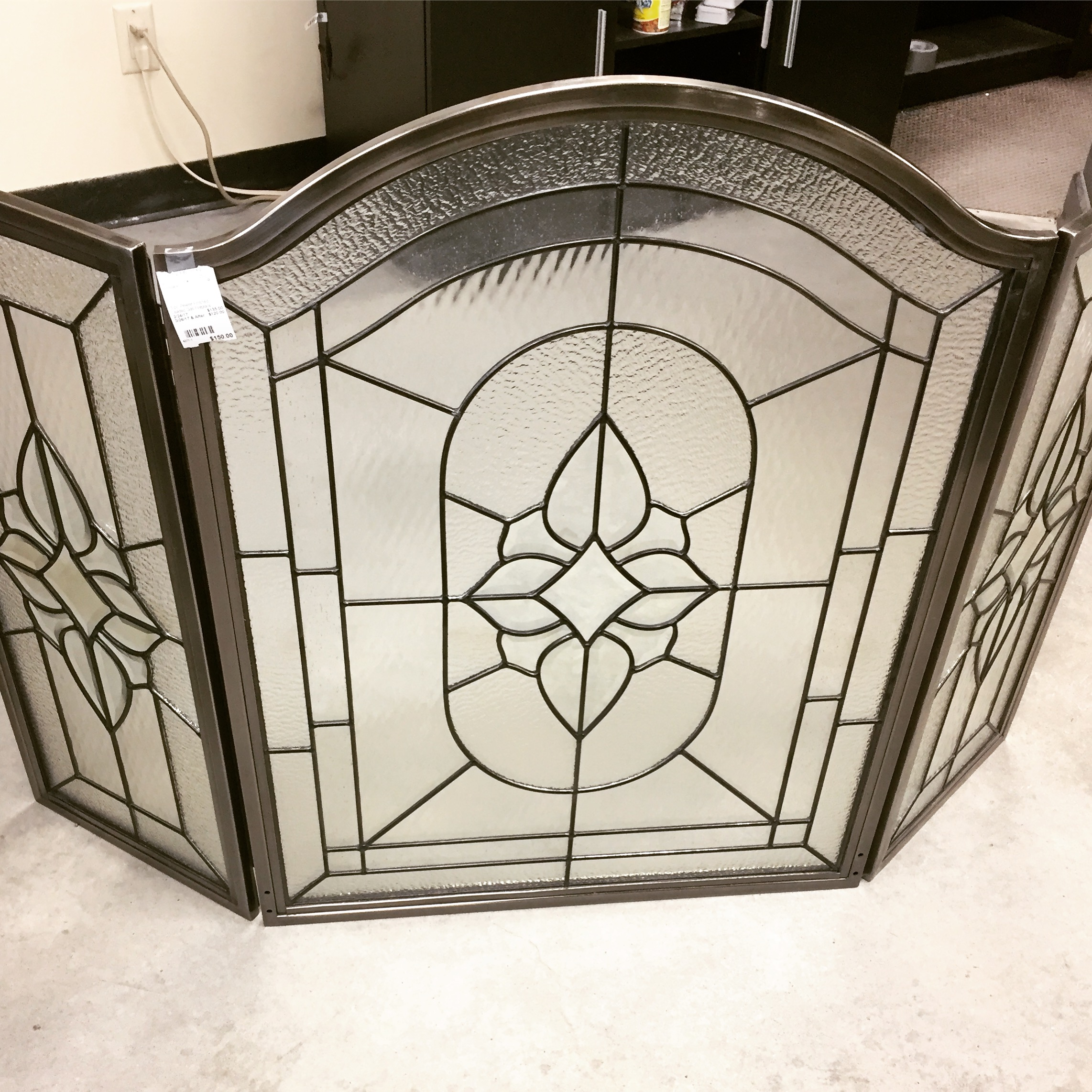 beveled screen fireplace chairish stained glass product leaded folding