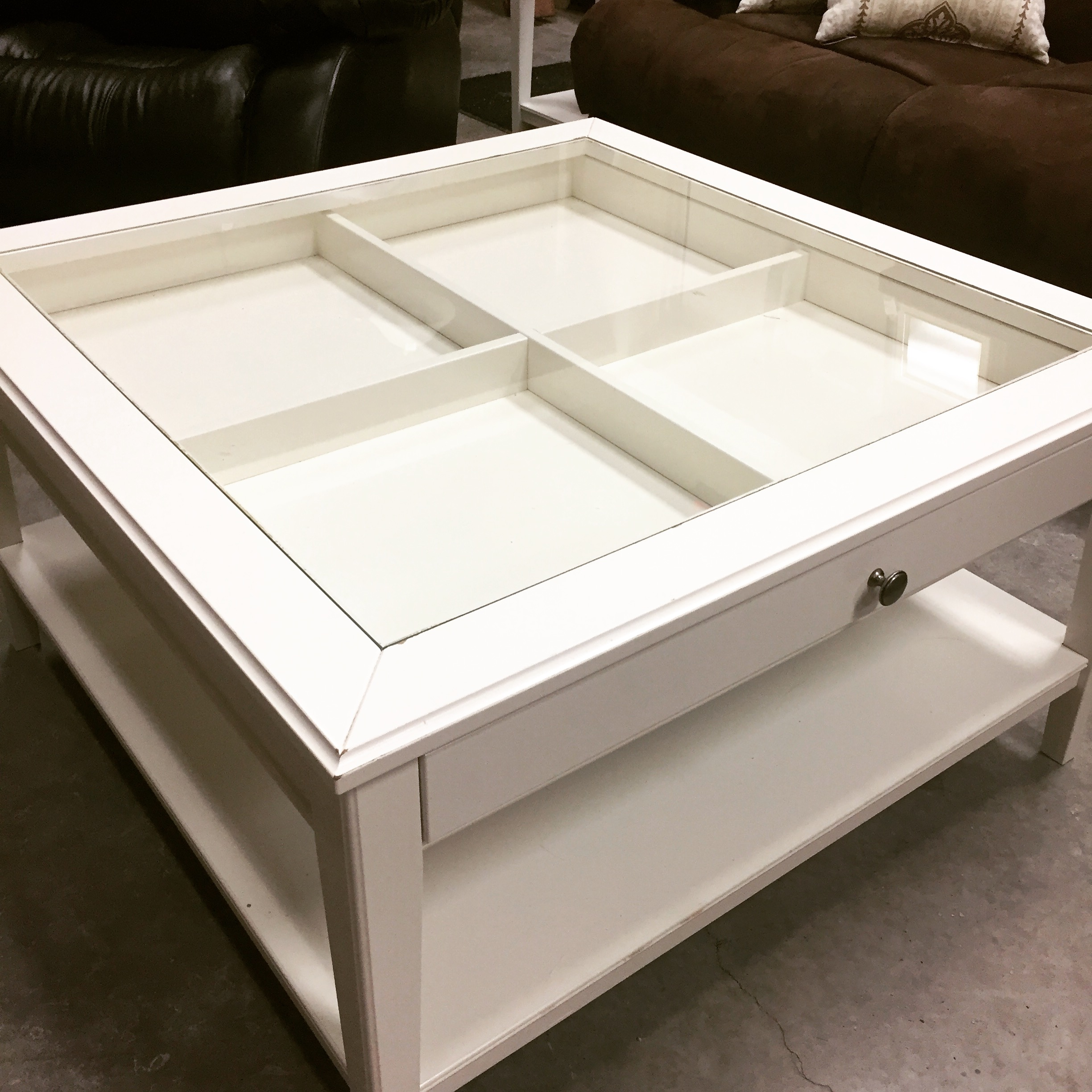 36 1 2 X 36 1 2 White Glass Insert Coffee Table Sold Designsbyconsign