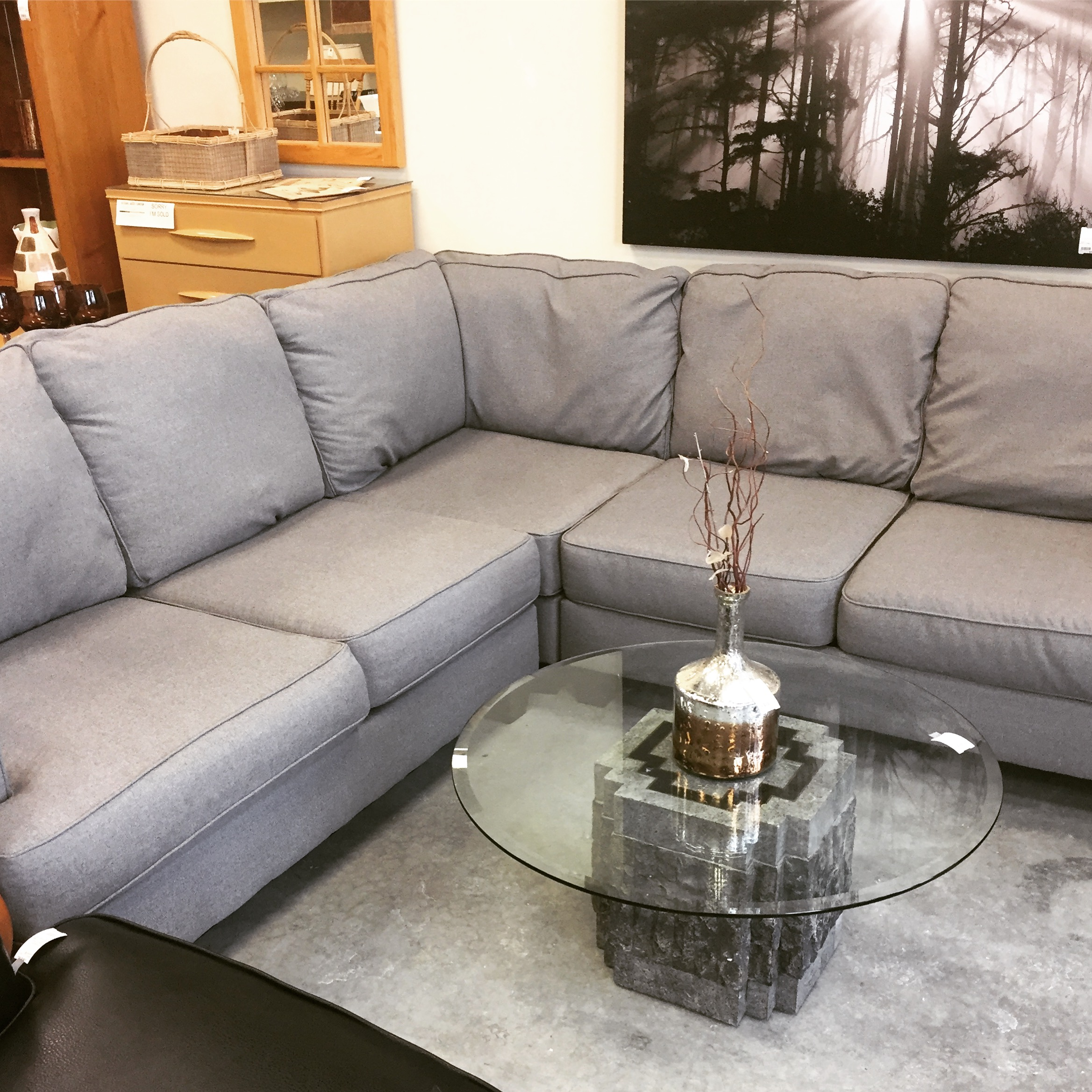 Miraculous 96 X 96 Grey Sectional Sofa Sold Designsbyconsign Caraccident5 Cool Chair Designs And Ideas Caraccident5Info