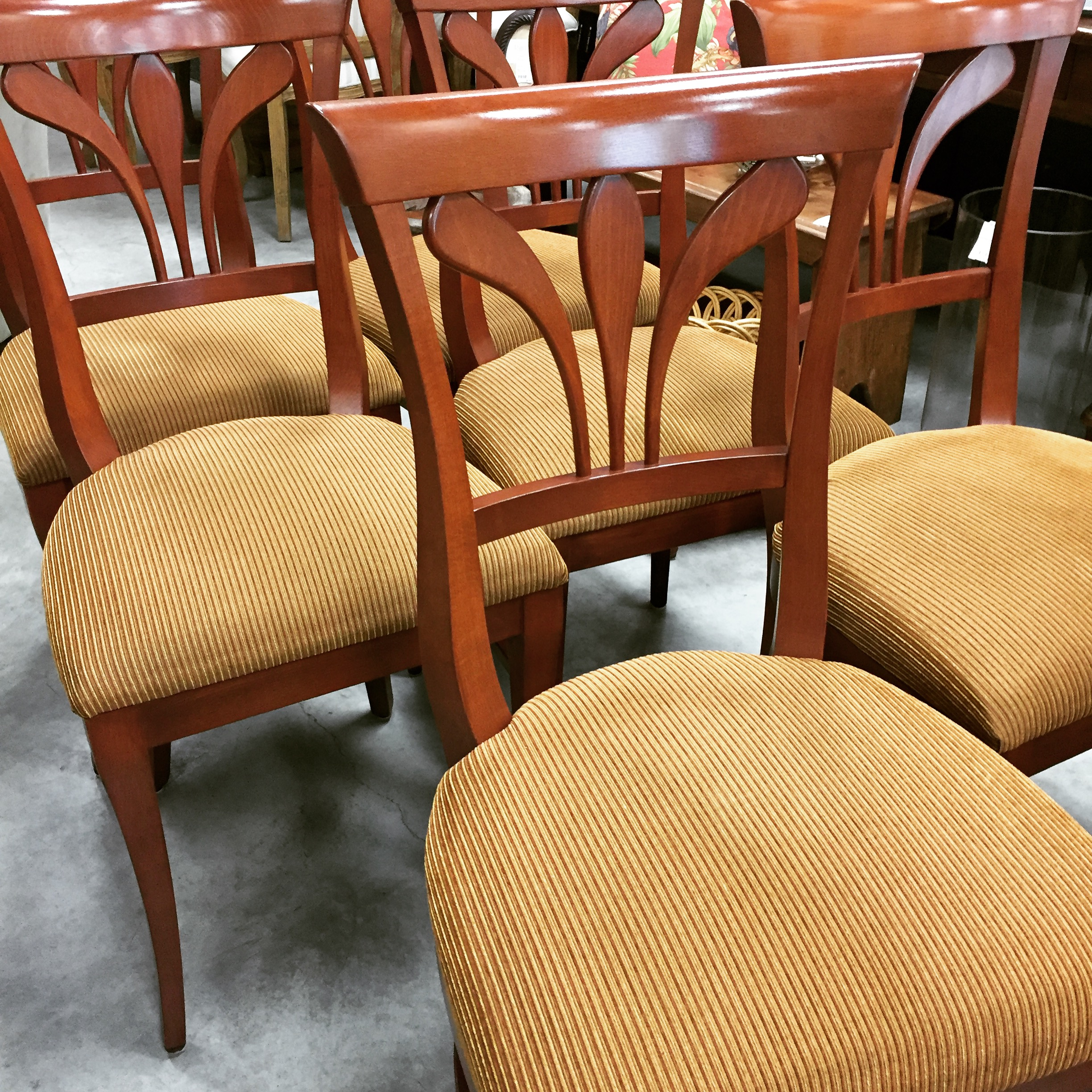 Set Of 6 Upholstered Art Shoppe Dining Chairs