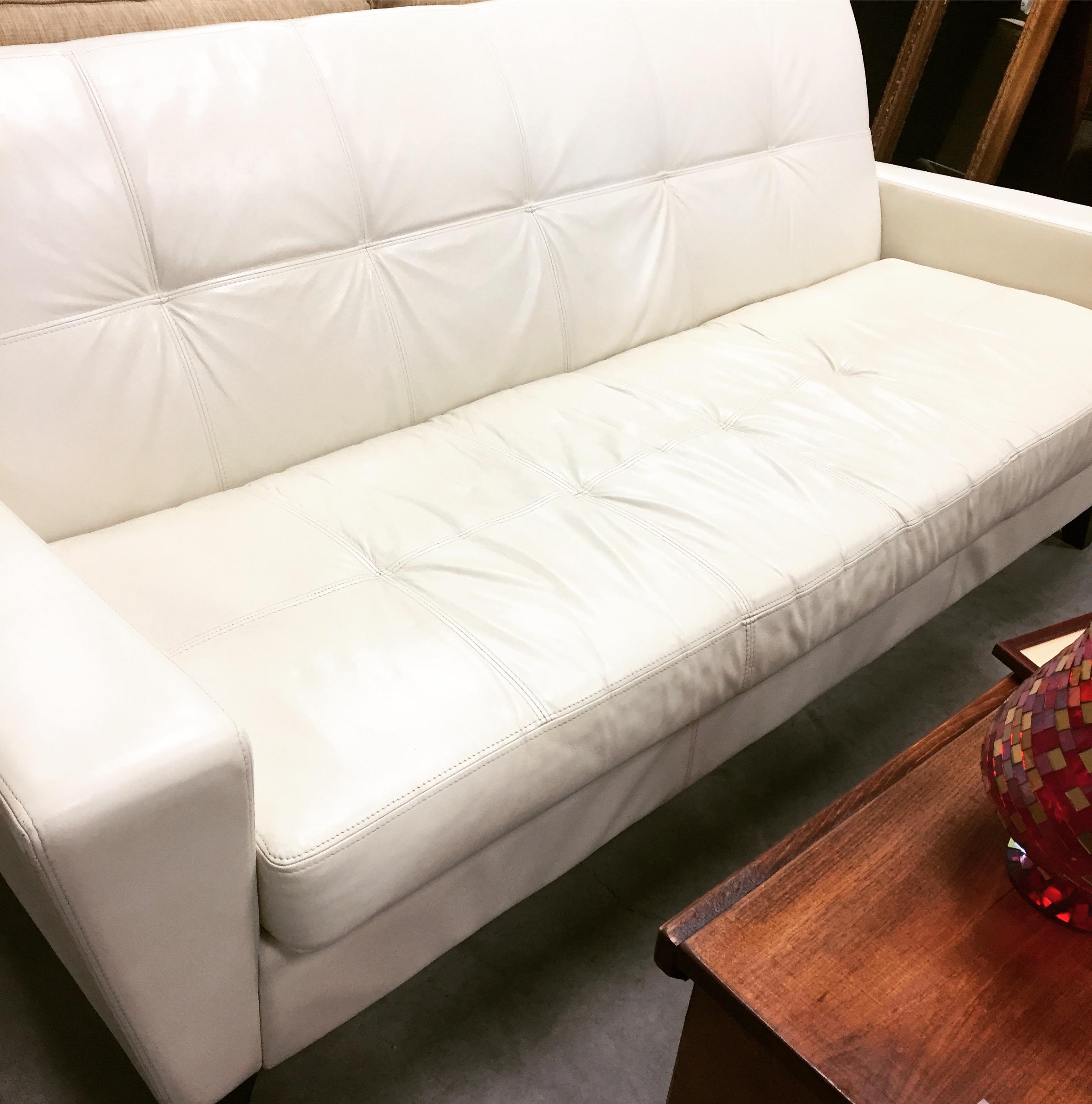 "78"" White Leather Sofa designsbyconsign"