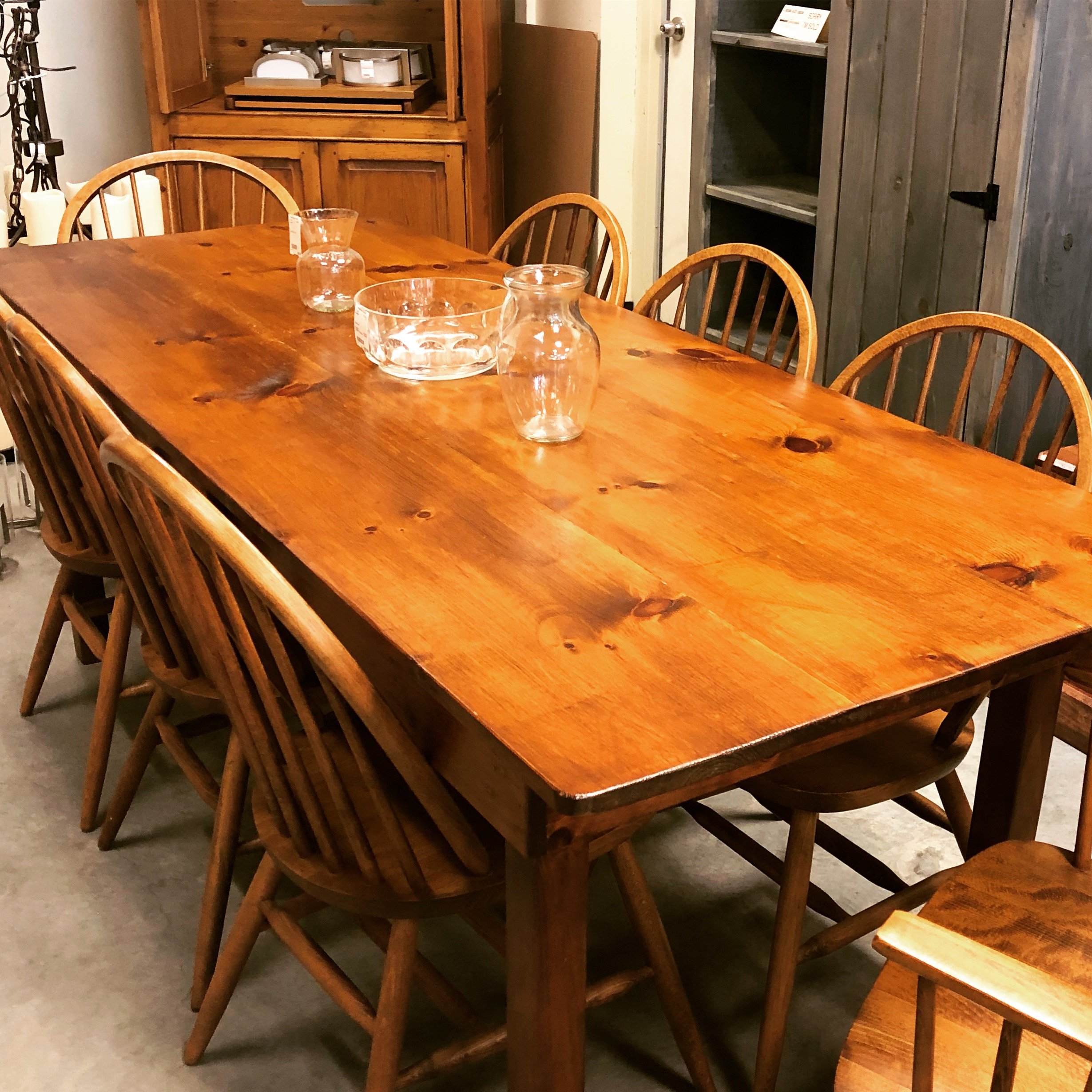 """33""""W X 84""""L Pine Harvest Table C/w 8 Windsor Chairs (2"""